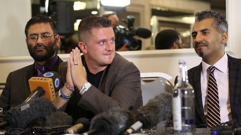 Tommy Robinson (c) with Quilliam co-founders Dr Osama Hassam (l) and Majid Nawaz (r) PIC: IBTimes UK