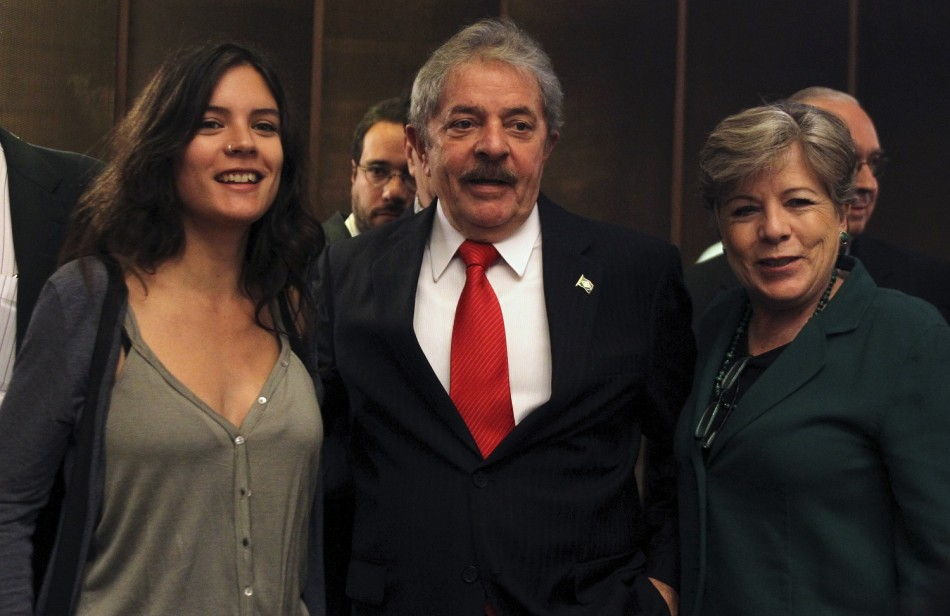 Former Brazilian President Luiz Inacio Lula da Silva, former Chilean student movement leader and deputy elected Camila Vallejo (L) and Executive Secretary of the United Nations Economic Commission for Latin America and the Caribbean (ECLAC) Alicia Barcena (R)