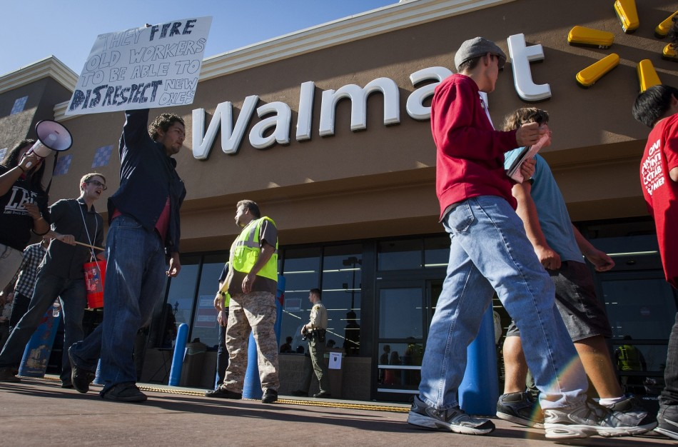 Striking Walmart workers and supporters protest at a store on Black Friday in Paramount, California