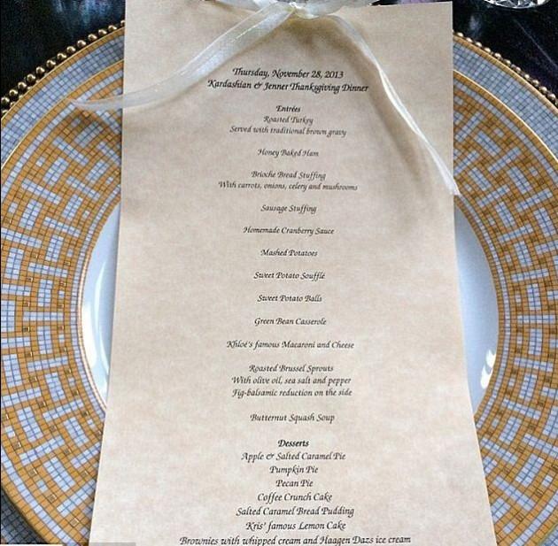 The elaborate menu[Krisjenner/Instagram]