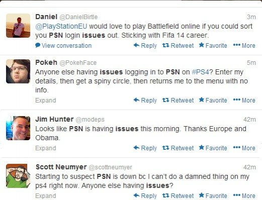 PlayStation 4 users tweeting about PSN login problems