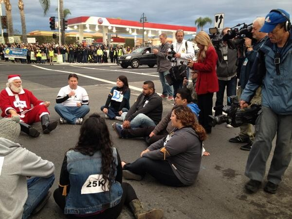 Santa, Walmart supporters and warehouse workers arrested
