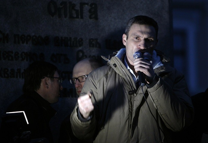 Former heavyweight boxing champion and UDAR party leader Vitaly Klitschko addresses pro-EU crowds in Kiev. (Reuters)