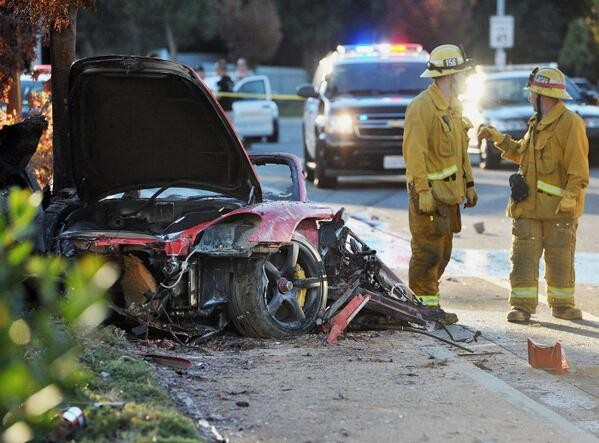 Paul Walker's car after accident