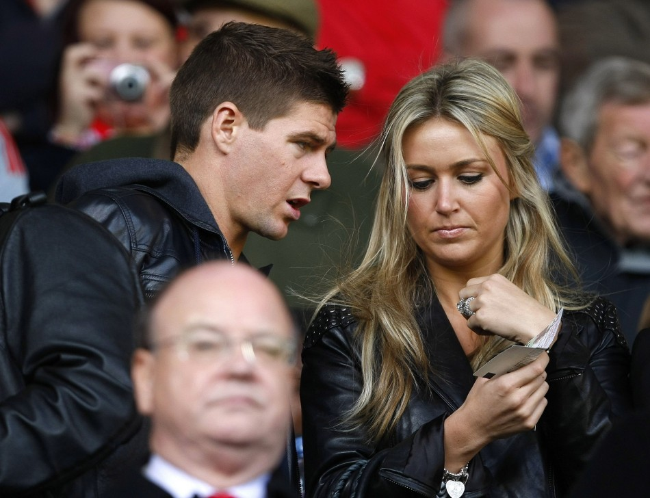 Steven Gerrard with wife Alex Curran at Anfield in 2009.
