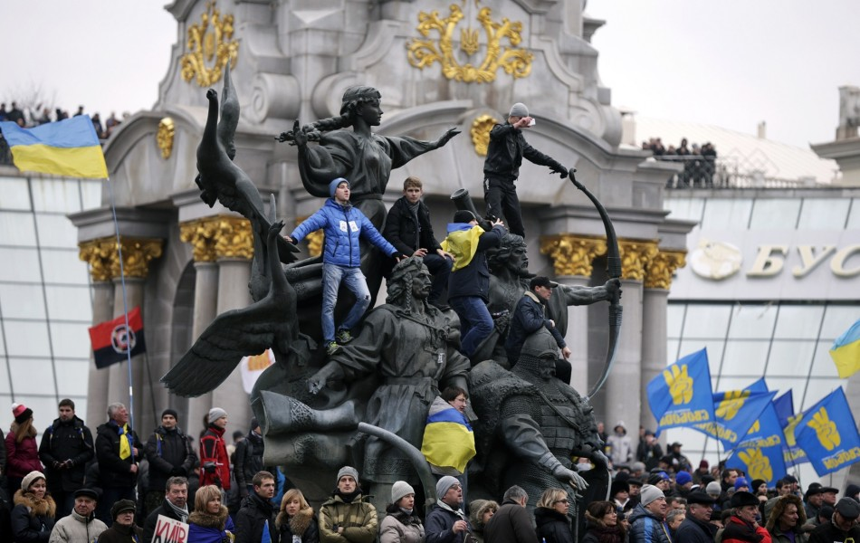 Supporters of EU integration hold a rally in the Maidan Nezalezhnosti or Independence Square in central Kiev,