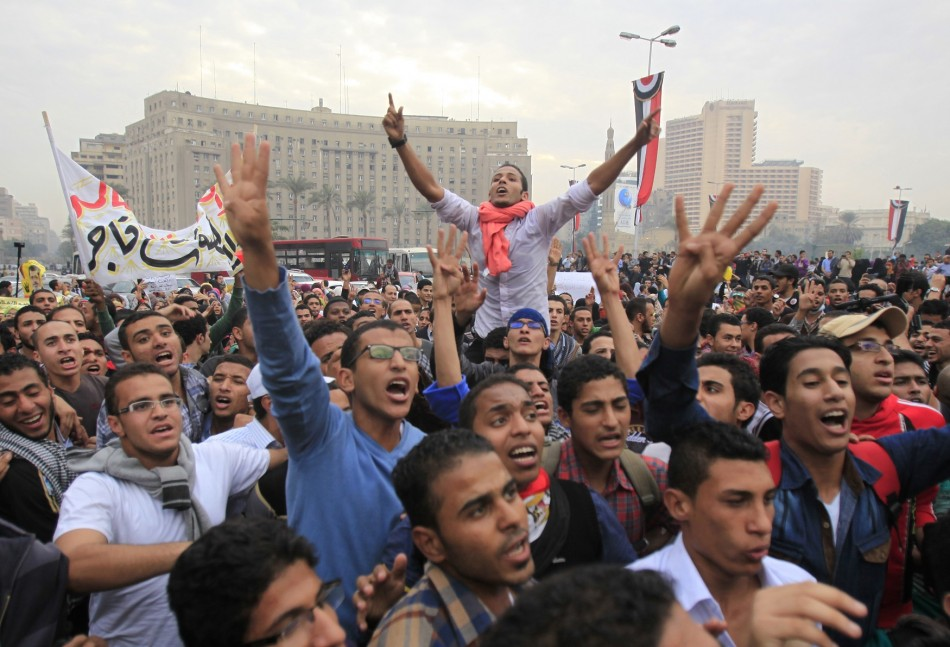 Pro-Morsi university students and supporters of the Muslim Brotherhood occupy Tahrir Square for the first time since the removal of President Mohamed Mursi in Cairo.