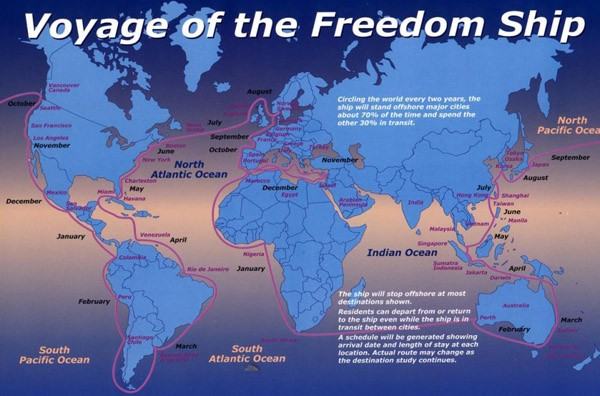 Freedom Ship: The Route of the $10 Billion floating city