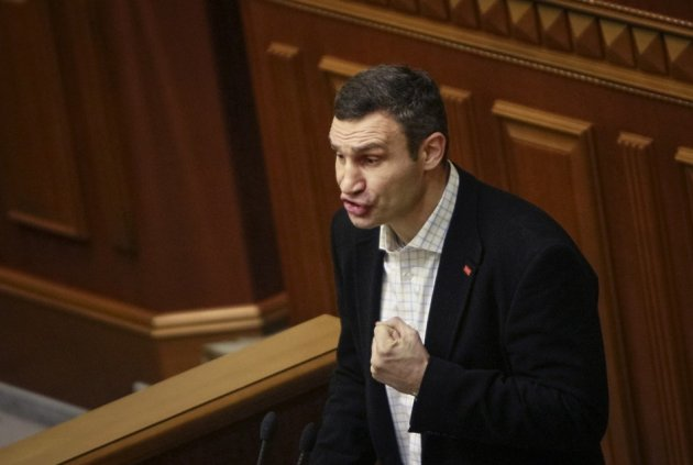Vitali Klitschko, head of the parliamentary faction of the UDAR (Ukrainian Democratic Alliance for Reform) Party, speaks from the parliamentary tribune in Kiev