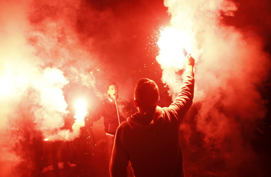 Illegal use of flares on the rise at football grounds in Britain PIC: Reuters