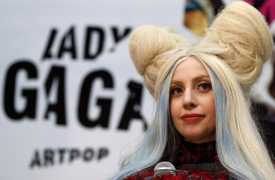 Singer Lady Gaga attends a news conference in Tokyo