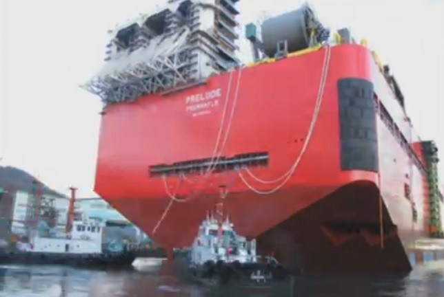 Shell Prelude is towed out of shipyard PIC: BBC