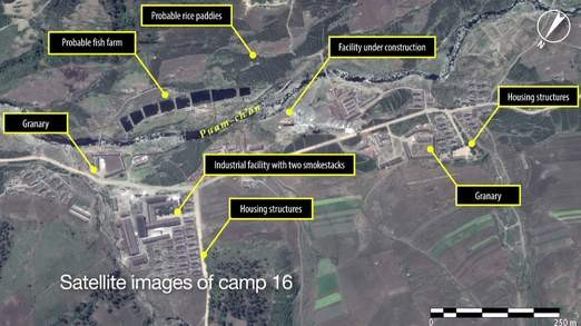 A satellite image from Kwanliso 16,the largest political prison camp in North Korea (Amnesty International)