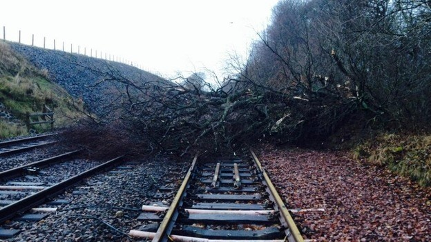 The winds have also caused major travel disruptions across Scotland (Twitter/National Rail)