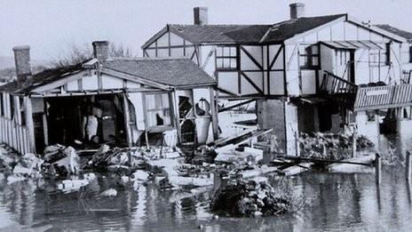 Norfolk town of Hunstanton flooded 1953