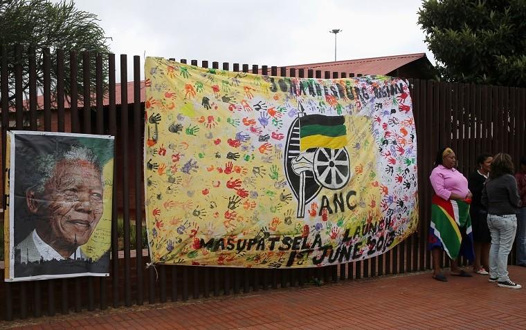 Tributes outside Mandela's home