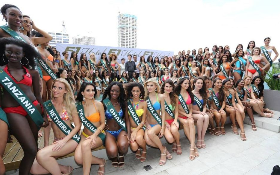 Miss Earth 2013 contestants pose at the F1 Hotel Manila, the Official Residence. (Facebook/Miss Earth)