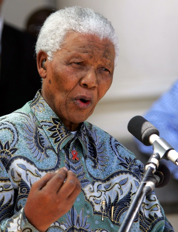 Nelson Mandela in a patterned shirt