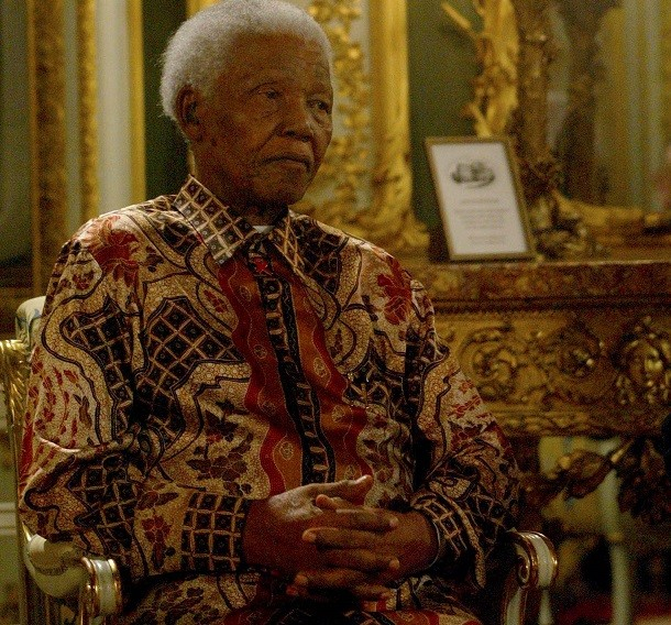 This shirt of Nelson Mandela doesn't stick out as much as blend in to the background PIC: Reuters