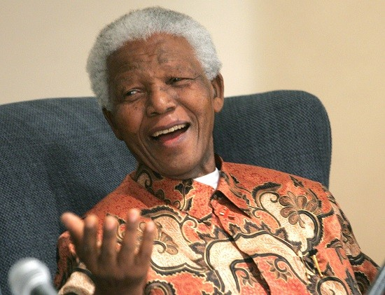 Nelson Mandela having a laugh in this vivid pattern PIC: Reuters