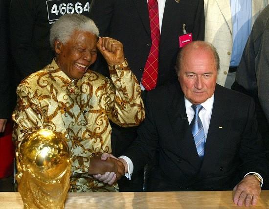 Nelson Mandela and Fifa President Sepp Blatter PIC: Reuters
