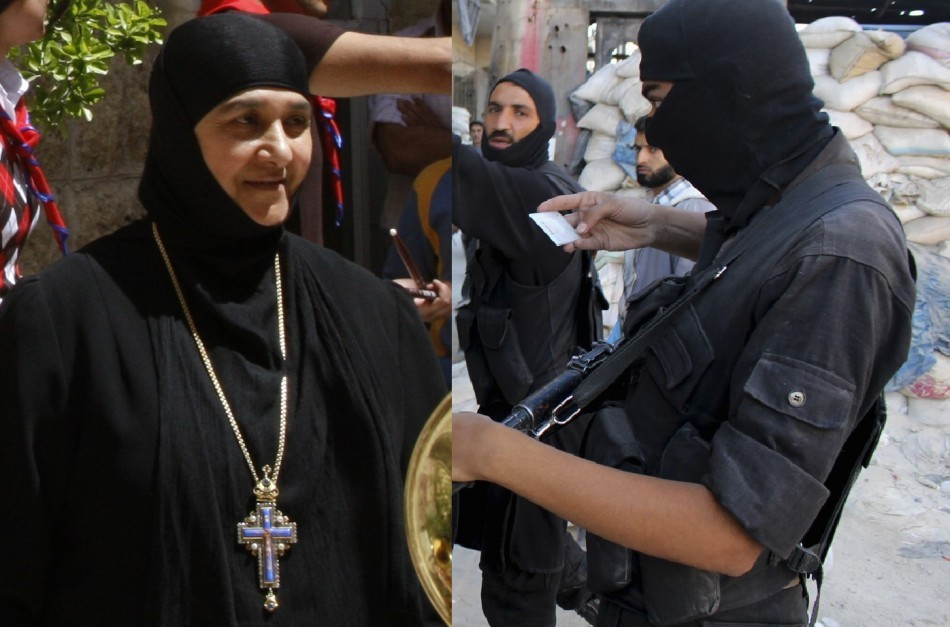 Syrian rebels forcibly evacuated 12 nuns including the mother superior Pelagia Sayyaf from the Saint Tecla Orthodox convent in Maaloula (Reuters)