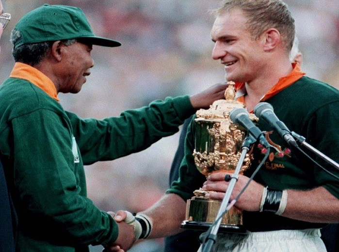 A moment of history pointing the way forward for South Africa, as Mandela hands Francois Pienaar the World Cup in 1995 PIC: Reuters