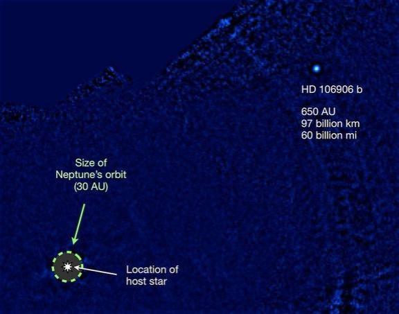Giant exoplanet HD 106906 b massive orbit
