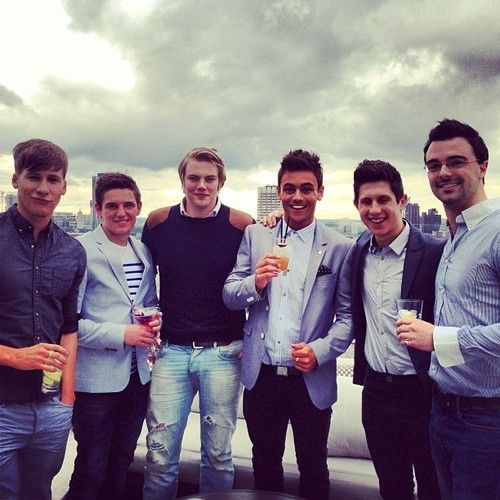 Dustin Lance Black (L) and Tom Daley (second from right). Photo: Instagram / tomdaley1994