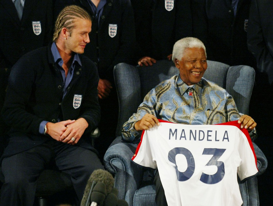 David Beckham and Nelson Mandela
