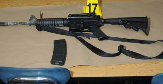 A Bushmaster rifle belonging to Sandy Hook Elementary school gunman Adam Lanza in Newtown, Connecticut is seen after its recovery at the school in this police evidence photo released by the state's attorney's office November 25, 2013 (Photo: Reuters)