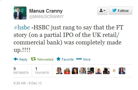 Bloomberg's European Markets Editor says HSBC debunked the FT report on a UK IPO (Photo: Twitter screengrab)