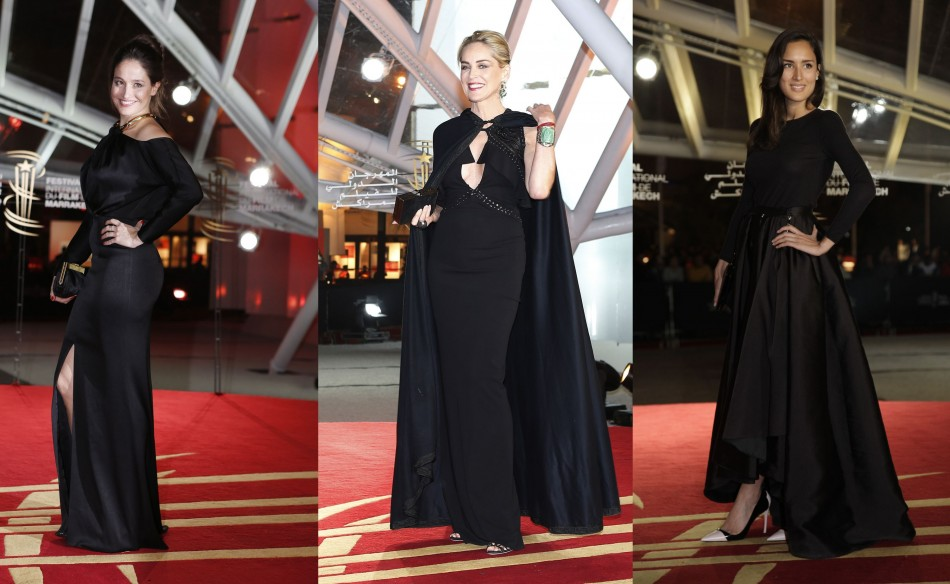 L to R: Belgian actress Marie Gillain, Sharon Stone and French actress Sarah Kazemy wow in black. (Reuters)