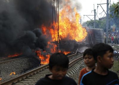 Jakarta train truck crash