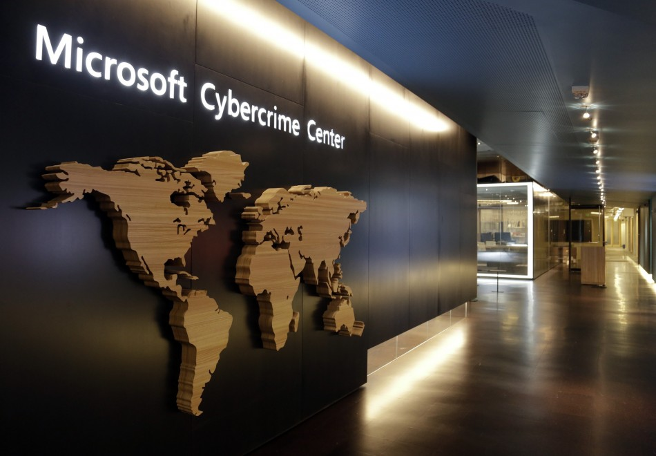 A sign is pictured in the hallway of the Microsoft Cybercrime Center