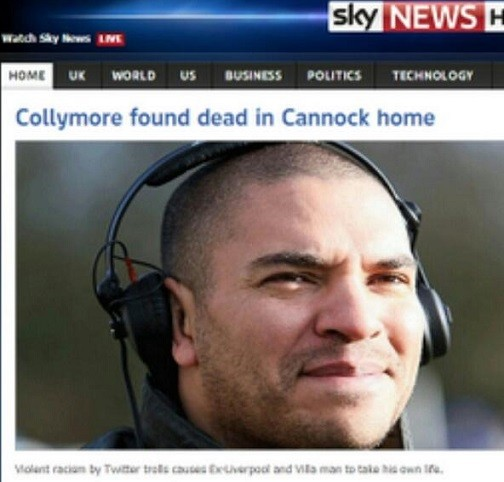 This sinister image was sent to Collymore by Twitter trolls