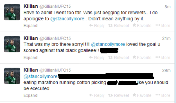 Offensive messages sent to Stan Collymore on Twitter