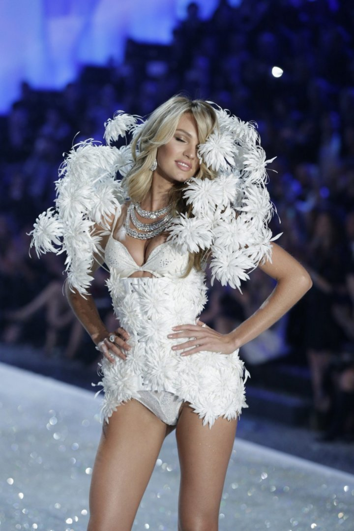 Model Candice Swanepoel presents a creation during the annual Victoria's Secret Fashion Show in New York