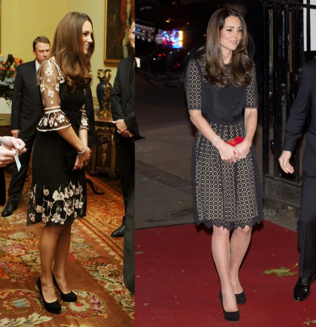 Duchess of Cambridge wears a temperley dress during a reception for Team GB at Buckingham Palace (L) and at the SportsAid SportsBall event in London. (Reuters)