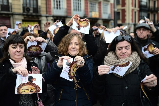 Women protesting against Cásate y sé Sumisa tear up the cover of the book, last month PIC: Reuters