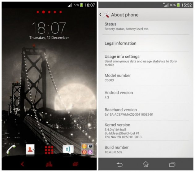Sony Xperia Z and ZL Get Android 4 3 10 4 B 0 569 Leaked Official