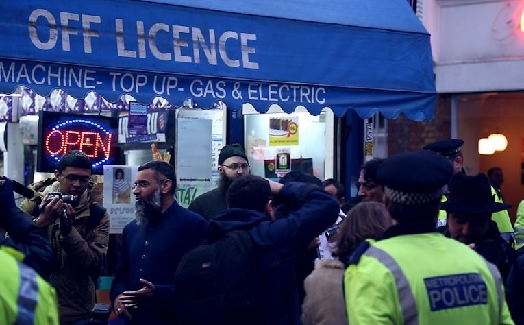 Anjem Choudary at Shariah Project protest in Brick Lane PIC: IBTimes.co.uk