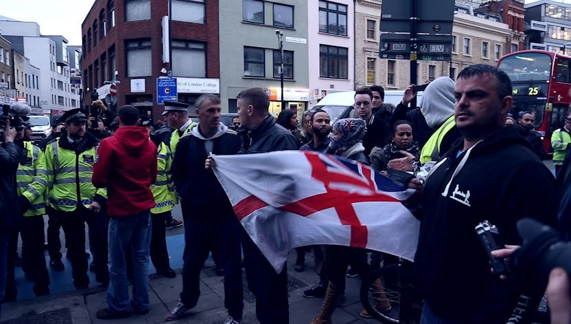 Counter demonstration saw stand off as English nationalists blocked the protest's path PIC: IBTimes.co.uk