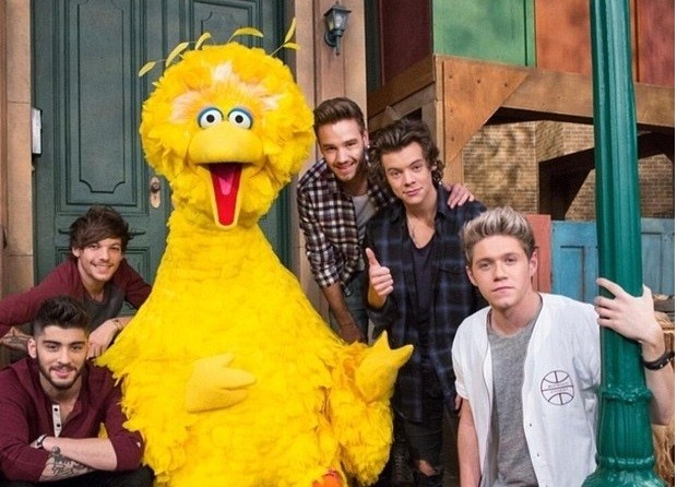 One Direction Pay A Visit To Sesame Streets Big Bird