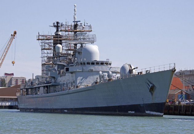 HMS Manchester being decommissioned at Portsmouth. Loss of jobs at BAE Systems will end 500 years of shipbuilding in the area. (Photo: Wikimedia Commons)