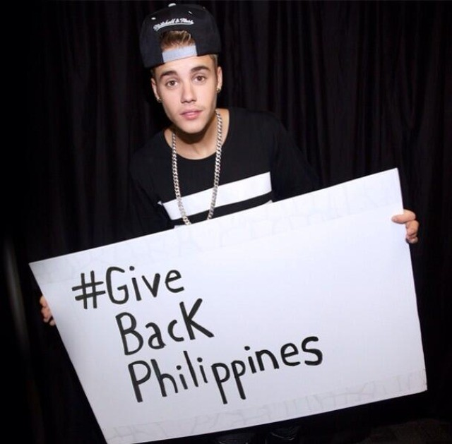 The Canadian pop star has given support for the Phillipines hurricane disaster. (Photo: Twitter @justinbieber)