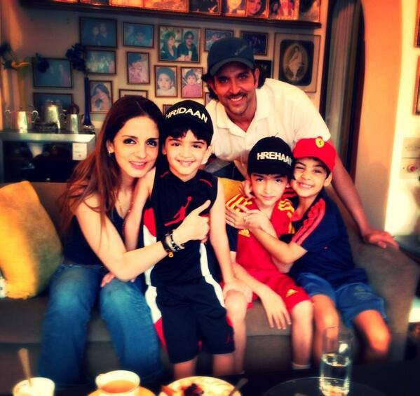 Hrithik Roshan and wife Sussanne Khan-Roshan with kids