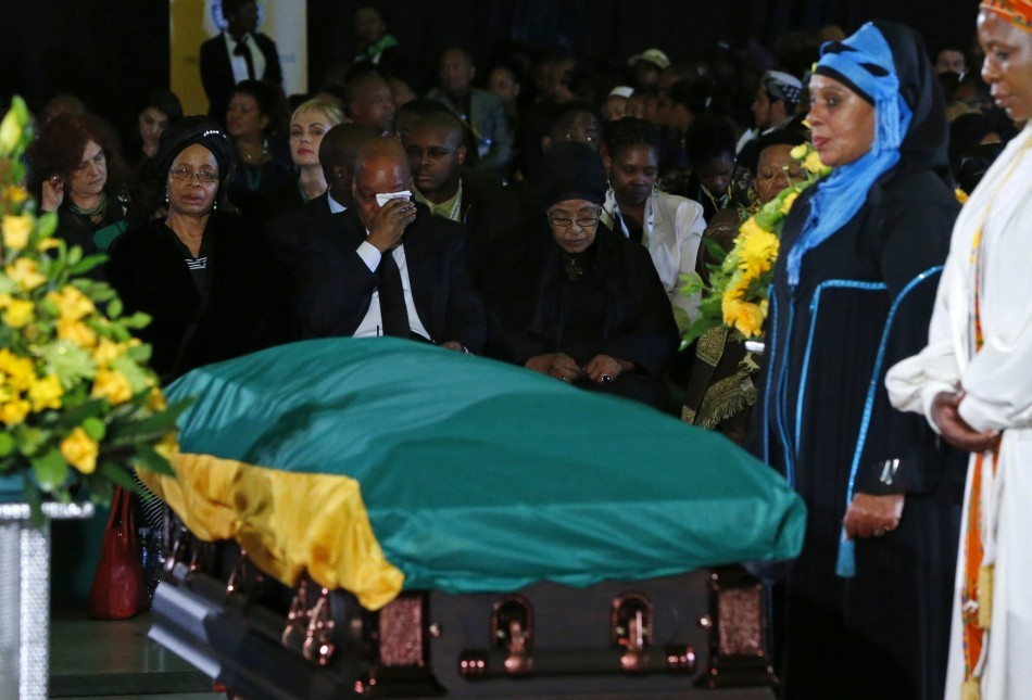 South African President Zuma wipes his eyes during a send-off ceremony for Nelson Mandela in Pretoria