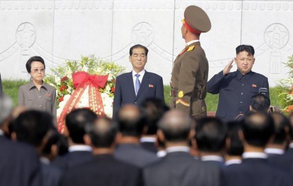 North Korean leader Kim Jong-un (R) with his aunt Kim Kyong-hui (L) in Pyongyang.