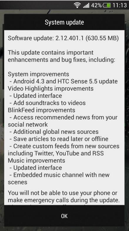 Android 4.3 update